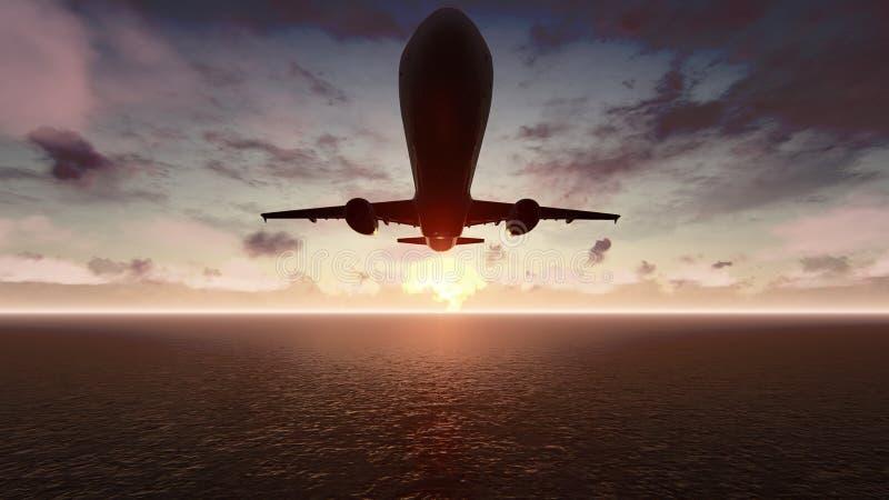 Nivån flyger över Stilla havet på soluppgång framförande 3d royaltyfri bild