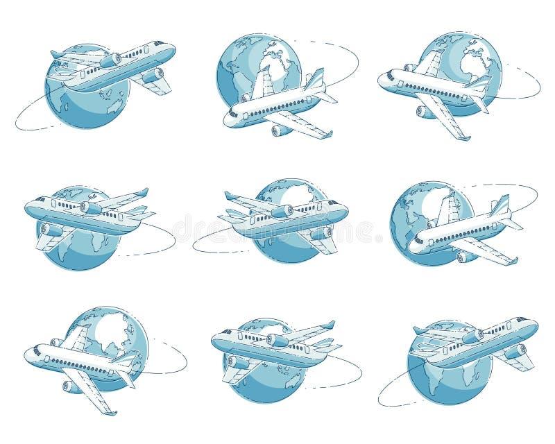 Nivåtrafikflygplan med jordplaneten, flygbolagflygresaemblem eller illustrationuppsättningen Härlig tunn linje vektor som över is stock illustrationer
