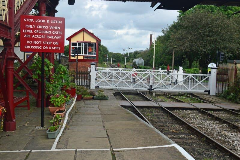Niveauübergang Ramsbottom auf der Ost-Lancs-Eisenbahn stockbild
