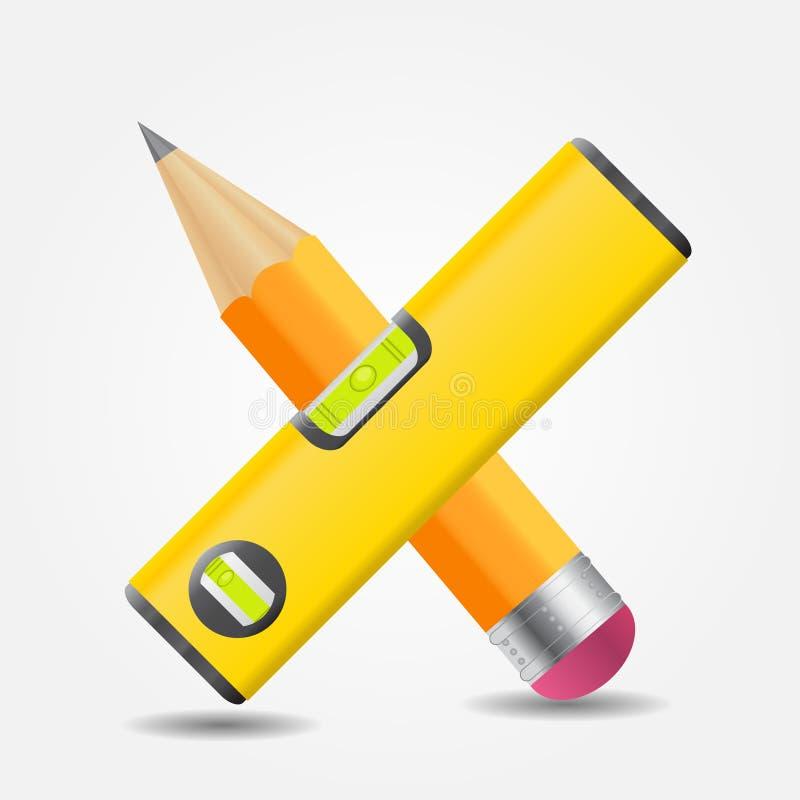 Niveau en de gele vectorillustratie van het potloodpictogram stock illustratie