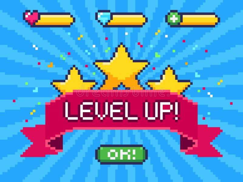 Niveau herauf Schirm Pixelvideospielleistung, gebissenes ui Spiele der Pixel 8 und Spielniveaufortschrittsvektorillustration vektor abbildung