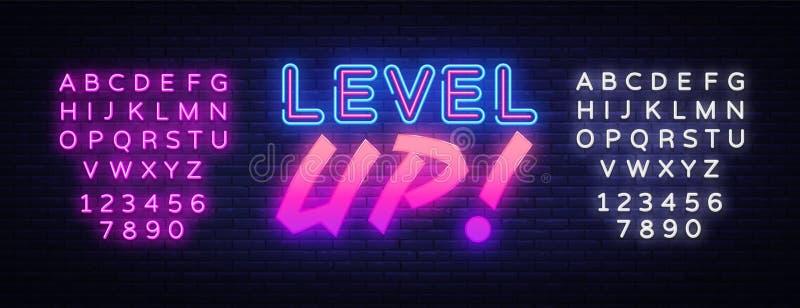 Niveau OP de vector van het neonteken Het neonteken van de gokkenontwerpsjabloon, lichte banner, neonuithangbord, nightly heldere vector illustratie