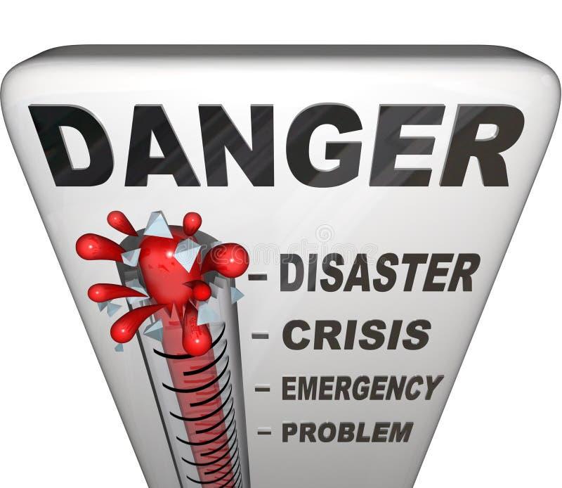 Niveaux de mesure de thermomètre de danger de l'urgence illustration de vecteur