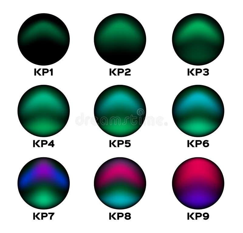Nivel de KP de la aurora de la luz septentrional Icono y libre illustration