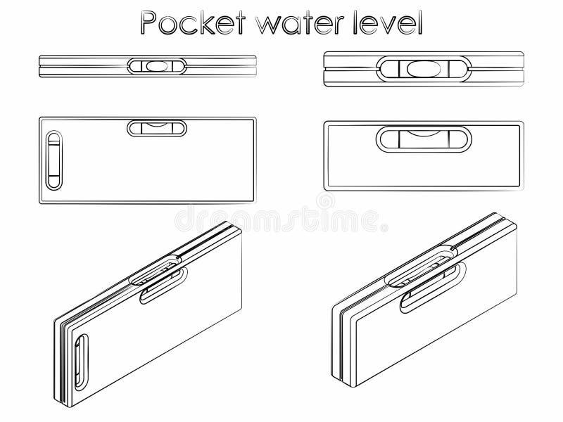 Nivel del agua del bolsillo El esquema le gusta pinceladas ilustración del vector