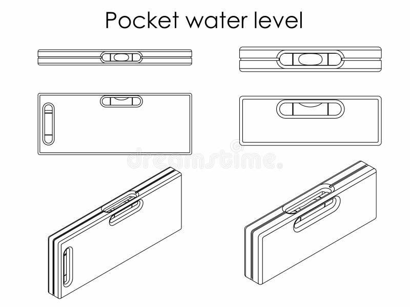 Nivel del agua del bolsillo Esquema solamente libre illustration