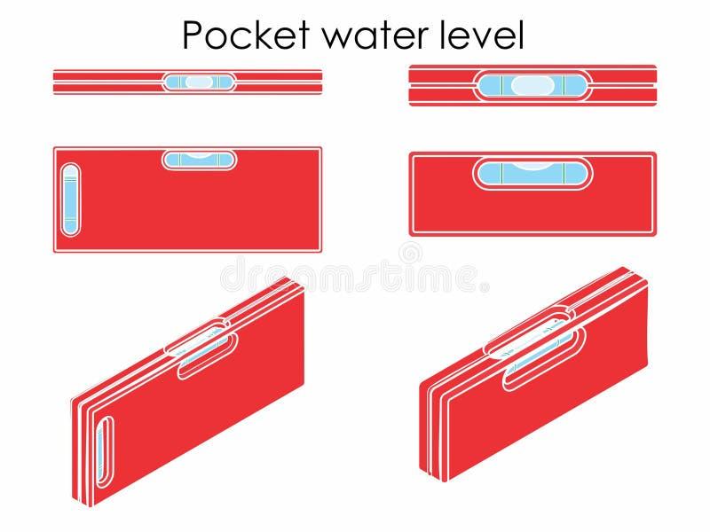 Nivel del agua del bolsillo Sin esquema stock de ilustración