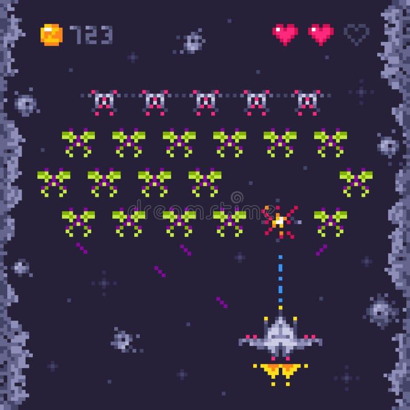 Nivel del juego de arcada del espacio Invasores, videojuegos del arte del pixel y ejemplo retros del vector del juego de la nave  stock de ilustración