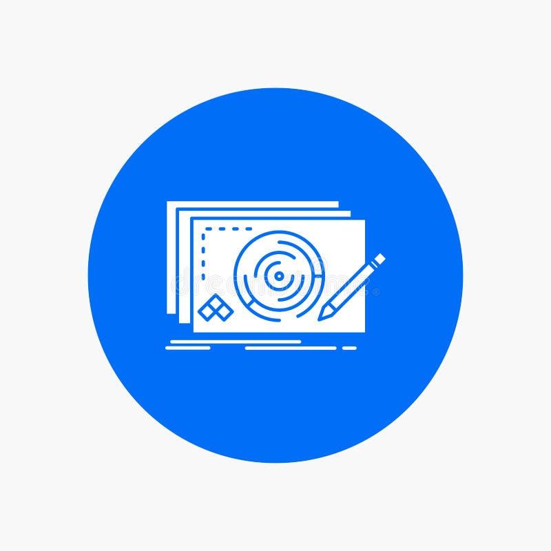 Nivel, diseño, nuevo, completo, icono blanco del Glyph del juego en círculo Ejemplo del bot?n del vector libre illustration