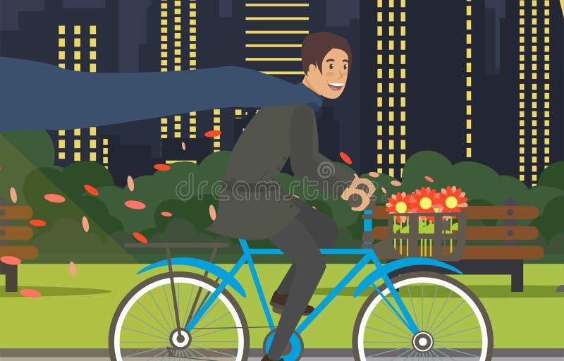Nivelando o passeio da bicicleta com o vetor moderno da cidade ilustração stock
