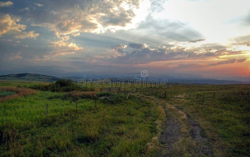 Nivelando o por do sol após uma tempestade rolada através dos montes de Alberta fotos de stock
