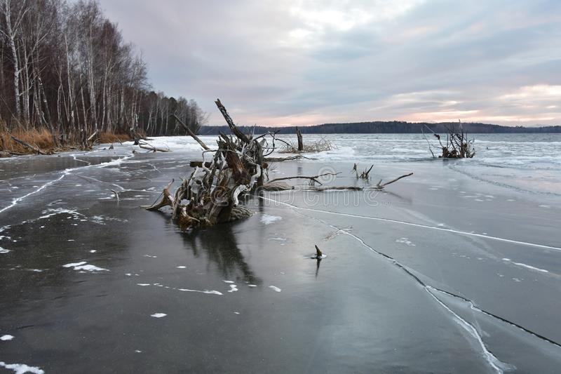 Nivelando a opinião do inverno do lago Uvildy à costa da ilha Vyazovy Ural sul, região de Chelyabinsk imagens de stock royalty free