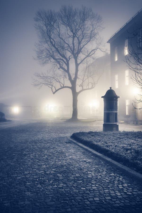 Nivelando a rua nevoenta da cidade europeia velha imagens de stock royalty free