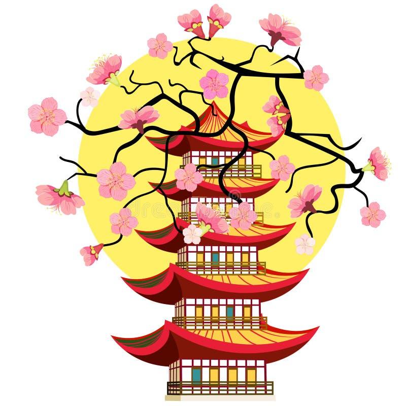 Niveles chinos de la pagoda cinco de la cereza de Sakura Ilustración del vector ilustración del vector