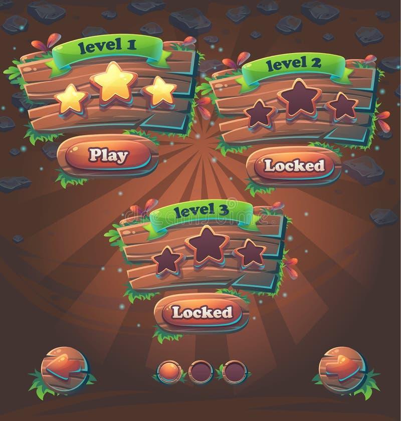 Niveles de madera de la ventana de la interfaz de usuario del juego ilustración del vector