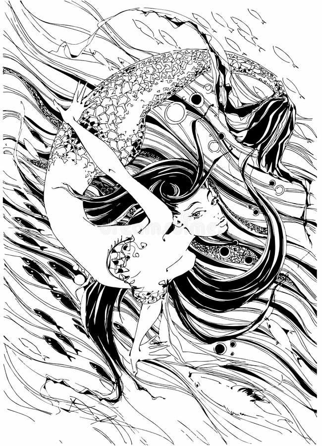 nixe Die Geschichte ist ein Mythos Seeschildkröte nahe Gili Meno fische graphiken Vektor stock abbildung