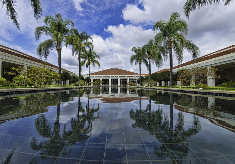 Nixon Library Wishing Pool. July 20, 2015: Yorba Linda, California. Celebrating the 25th anniversary of the opening of the Nixon Library. A 4 image panoramic of royalty free stock photos