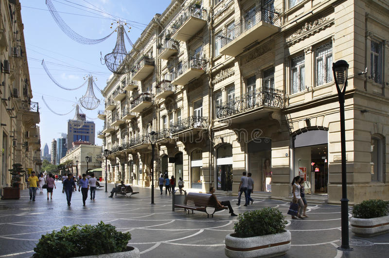 Nizami (市场)街道 秃头 阿塞拜疆 免版税库存照片