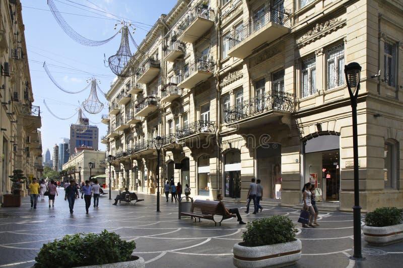 Nizami (Markt) straat baku azerbaijan royalty-vrije stock foto