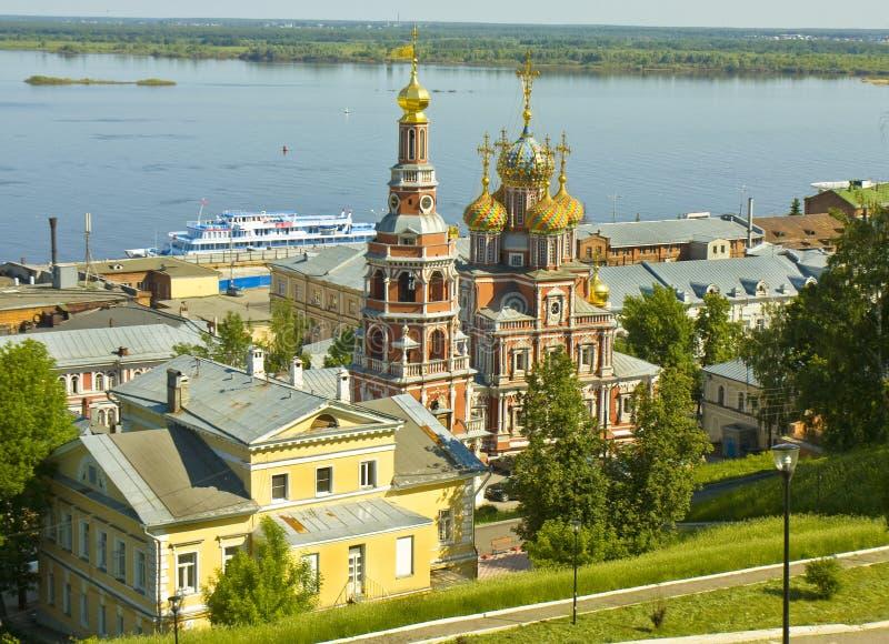 Nizhni诺夫哥罗德,俄罗斯, Stroganovskaya教会 库存照片