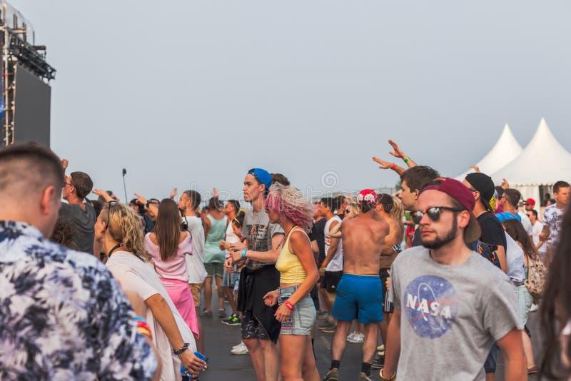 Nizhniy诺夫哥罗德州,俄罗斯- 2016年7月24日:电子音乐节日-法新社 免版税图库摄影