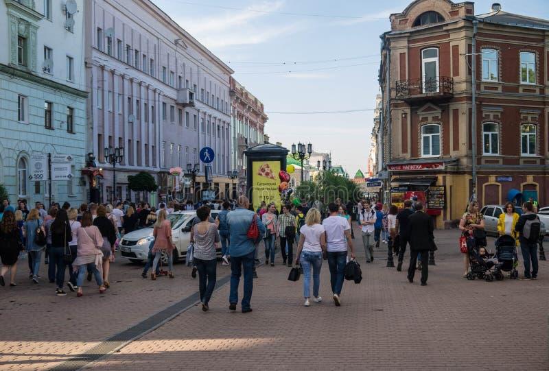 Nizhniy Novgorod, άποψη της οδού Bolshaya Pokrovskaya, Ρωσία στοκ εικόνες