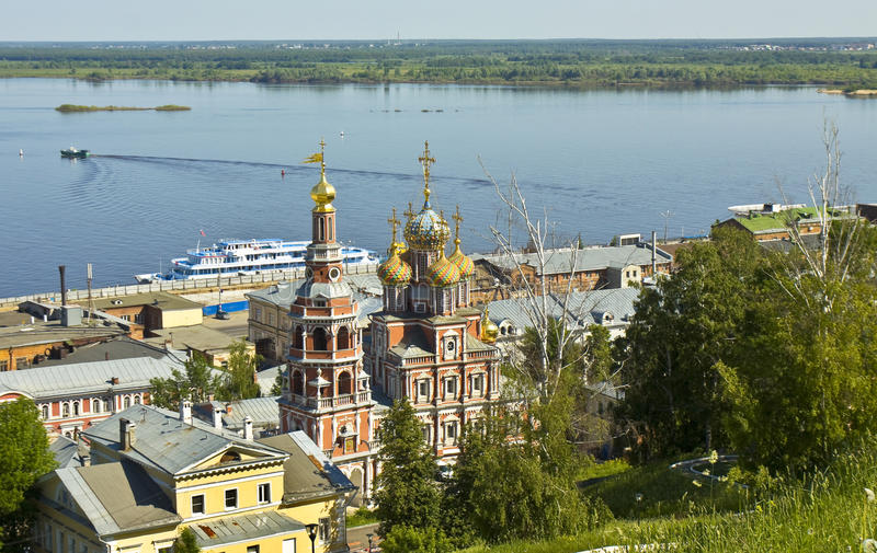 Nizhniy Novgorod, iglesia de Stroganovskaya foto de archivo