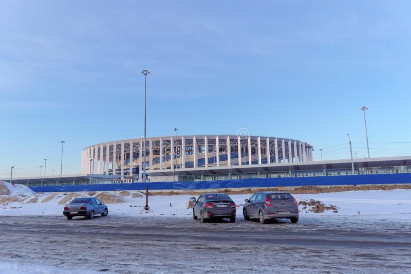 Nizhny Novgorod俄国 - 3月2日 2018年 体育场的建筑在世界杯足球赛的下诺夫哥罗德2018年 免版税库存照片