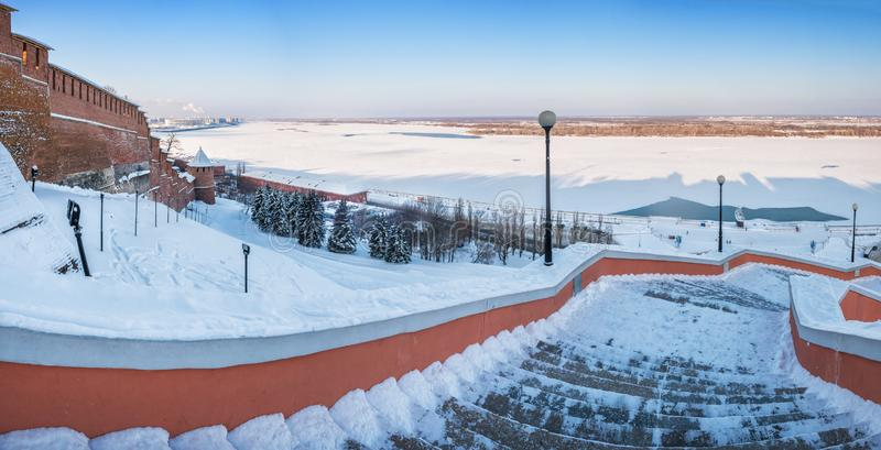 Nizhny Novgorod από το ύψος της σκάλας Chkalov στοκ φωτογραφία με δικαίωμα ελεύθερης χρήσης