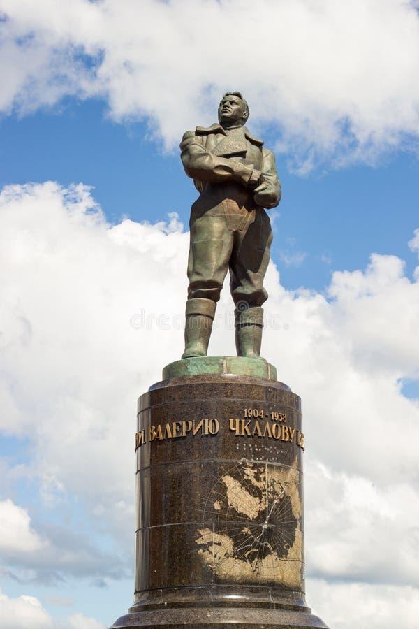 Nizhny Novgorod, Ρωσία - 11 Ιουλίου 2017: ένα άγαλμα του Valery Chka στοκ εικόνες