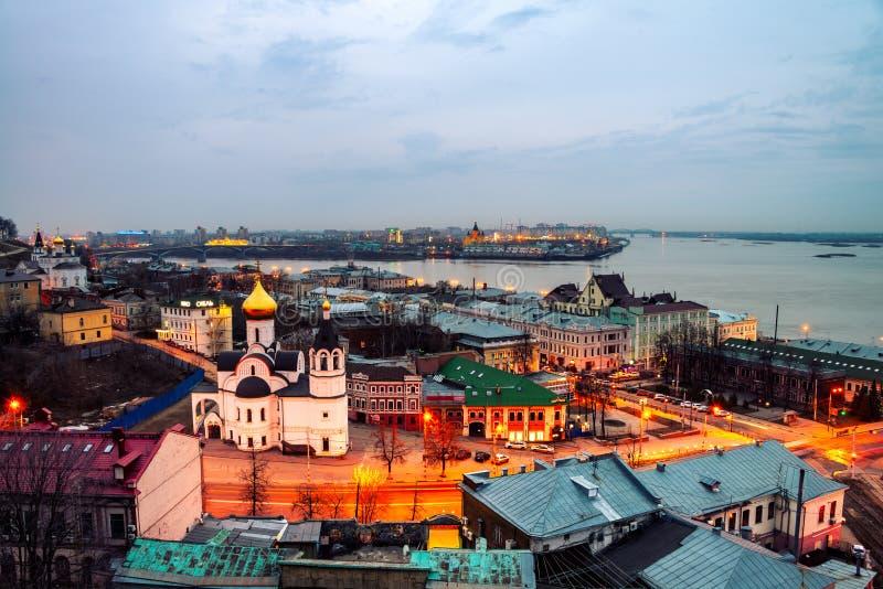 Nizhny Novgorod, Россия на ноче стоковые фотографии rf