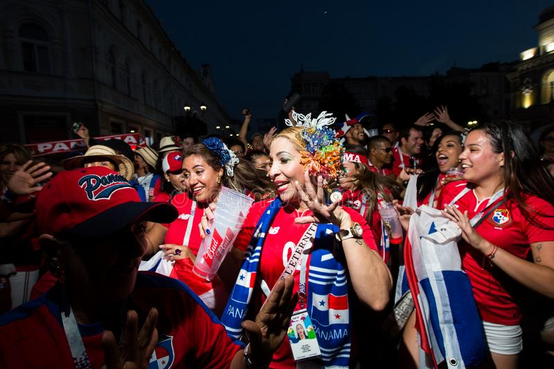 Nizhny Novgorod, czerwiec 2018: fan piłki nożnej przychodzili Nizhny Novgorod dla pucharu świata obraz stock