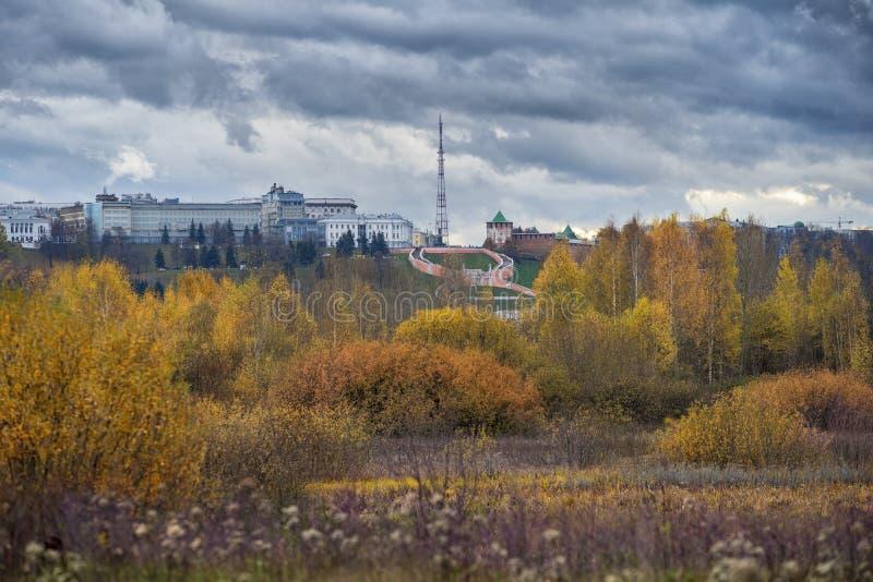 Nizhny Novgorod Kremlin e visão panorâmica foto de stock