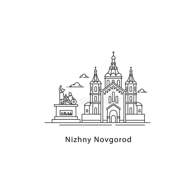 Nizhny Novgorod logo som isoleras på vit bakgrund Nizhny Novgorod s gränsmärkelinje vektorillustration Resa till royaltyfri illustrationer
