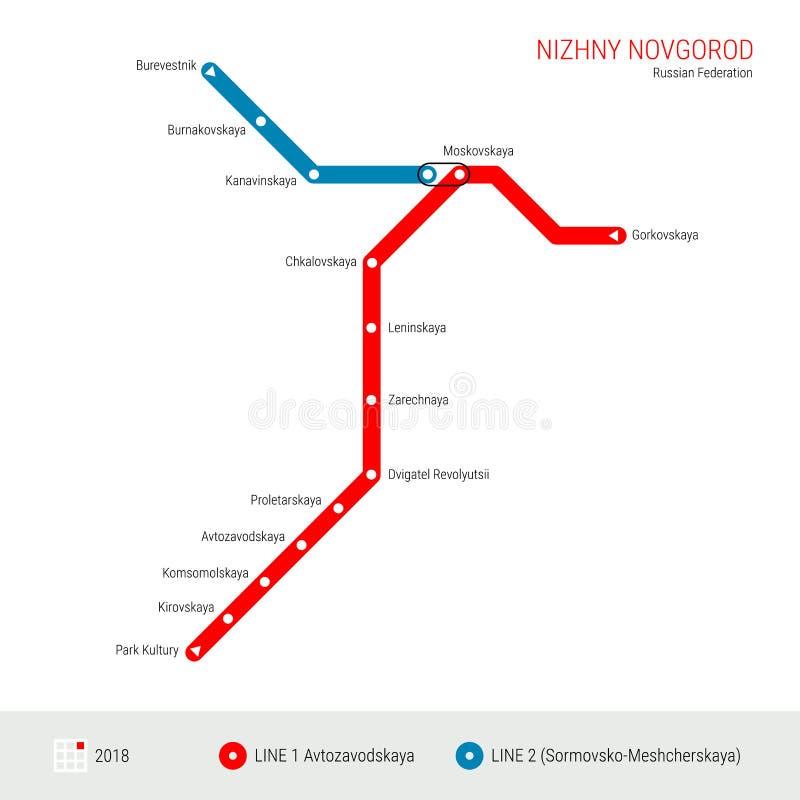 Nizhny Novgorod, mapa do metro do vetor da Federação Russa Esquema rápido do sistema de transporte de Nizhny Novgorod Mapa do met ilustração royalty free
