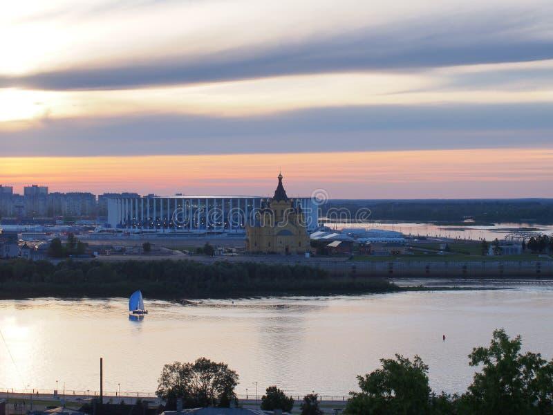 Nizhny Novgorod Mening van de Kathedraal van St Alexander Nevsky a stock fotografie