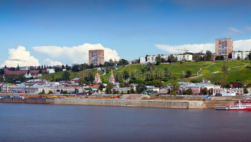 Nizhny Novgorod met rivier Oka. Rusland stock fotografie