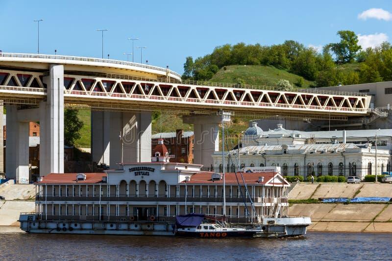 Nizhny Novgorod. Metro Bridge and Romodanovsky Railway Station on the Kazan Square stock images