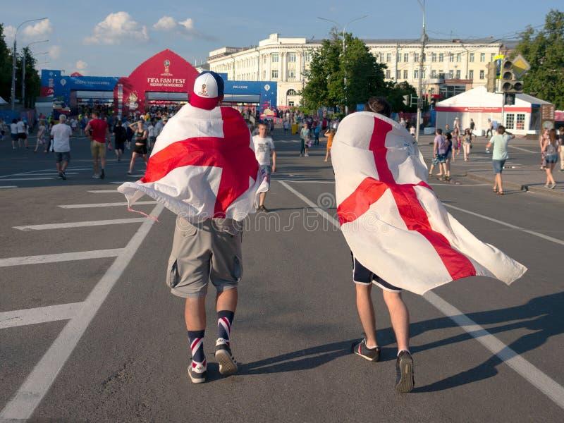 Nizhny Novgorod, Rússia 24 de junho de 2018: os fan de futebol vieram a Nizhny Novgorod para o campeonato do mundo Os fãs represe imagem de stock royalty free