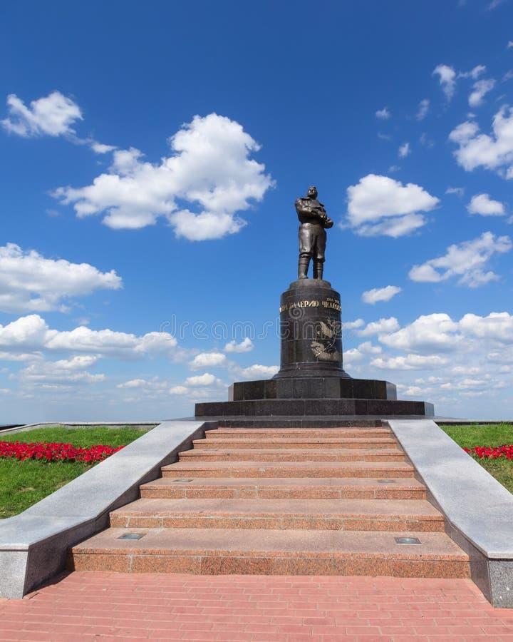 Nizhny Novgorod, Rússia, o 20 de julho de 2013, monumento de Valery Chkalov fotos de stock
