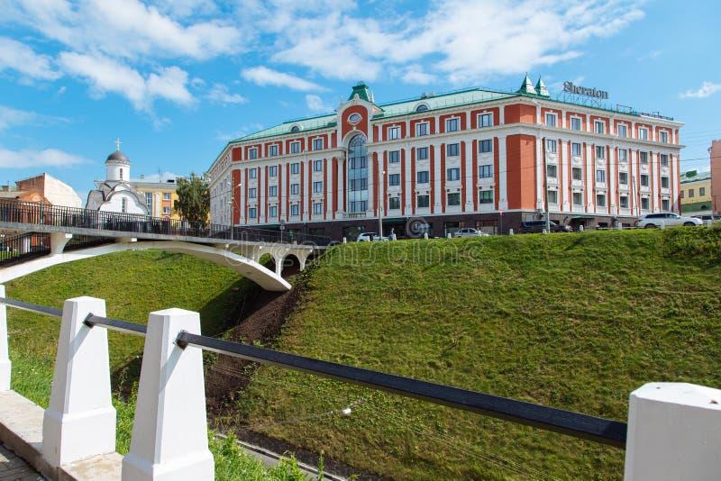 Nizhny Novgorod, Rusia, el 12 de julio de 2019 - Sheraton Hotel fotos de archivo libres de regalías