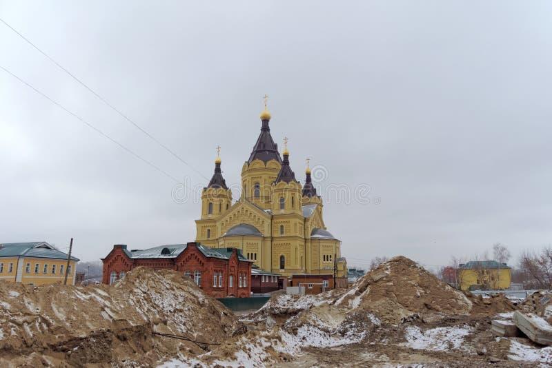 Nizhny Novgorod, Rusland - 1 december 2017 De Kathedraal van Alexander Nevsky royalty-vrije stock afbeelding
