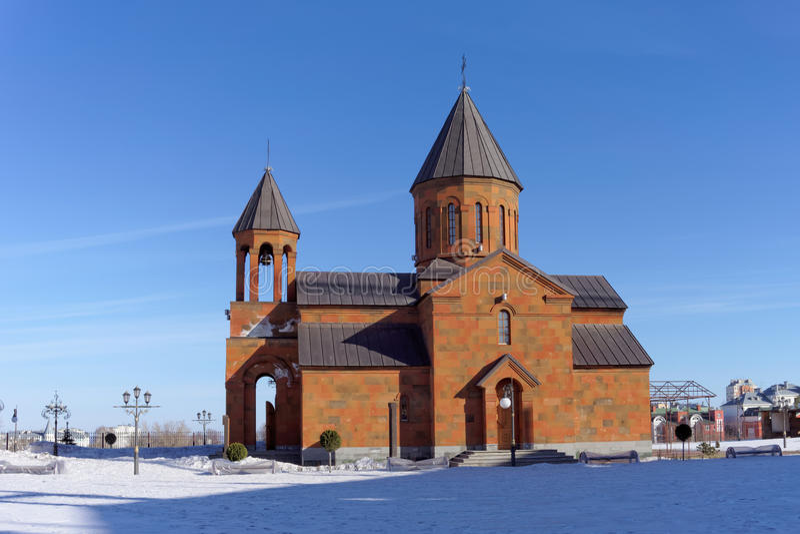 Nizhny Novgorod, Rusland - 24 maart 2016 Armeense Kerk op de straat Shevchenko 1 stock foto