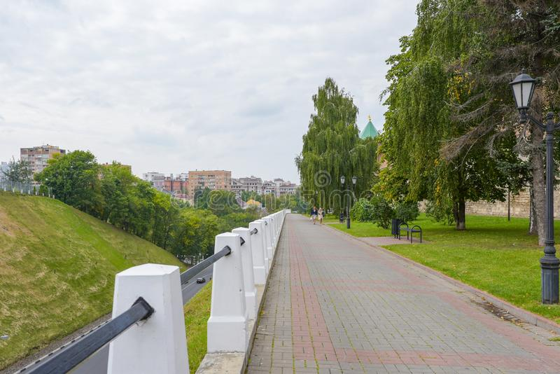 Nizhny Novgorod, Rusland - September 4, 2018: De Boulevard van het Kremlin royalty-vrije stock afbeelding