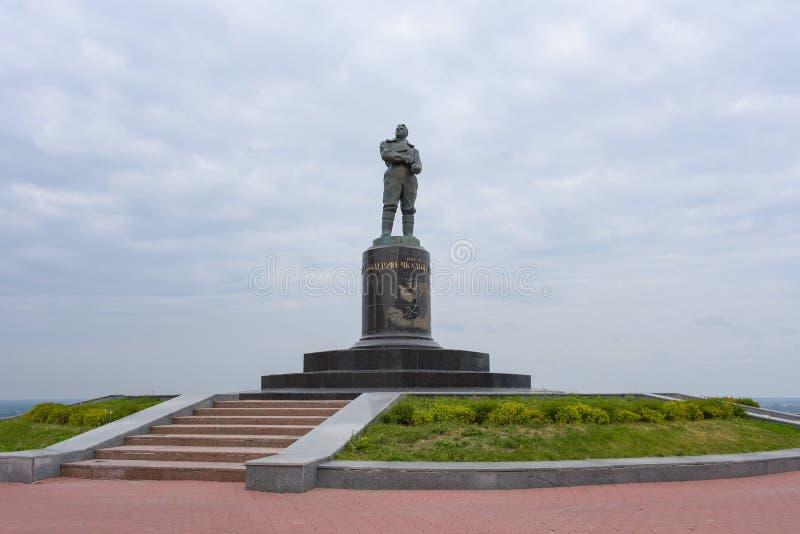 Nizhny Novgorod, Rusland - September 4, 2018: Het monument aan proefvalery chkalov royalty-vrije stock foto's