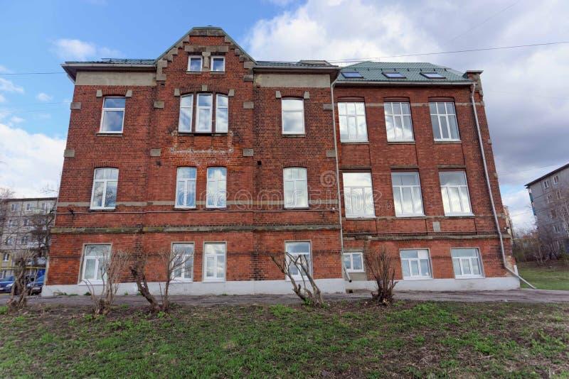 Nizhny Novgorod, Russia. - April 22.2016. City School named after Mikhail Lomonosov in the Verkhnevolzhskaya embankment. The object of cultural significance of stock photography
