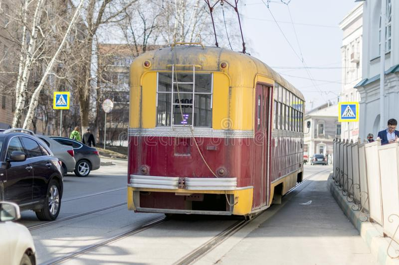 The old model of electric tram. Riga carriage plant. They operated in the 60`s of the 20th century. Close-up. royalty free stock image