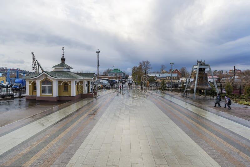 Nizhny Novgorod, Russia - 03.11.2015. Area before the Cathedral St. Alexander Nevsky. 19th century stock photo