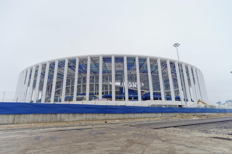 Nizhny Novgorod, Russia. - December 1.2017. Construction of the stadium in Nizhny Novgorod to the FIFA World Cup 2018. stock photo