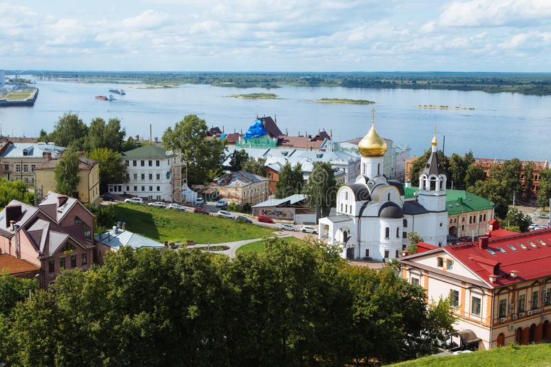 Nizhny Novgorod, Russia, July 12, 2019. Aerial panoramic view of the city in summer day stock images